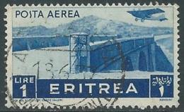 1936 ERITREA POSTA AEREA USATO SOGGETTI AFRICANI 1 LIRA - UR31-3 - Eritrea