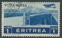 1936 ERITREA POSTA AEREA USATO SOGGETTI AFRICANI 1 LIRA - UR31-5 - Eritrea