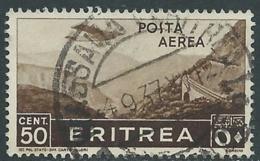 1936 ERITREA POSTA AEREA USATO SOGGETTI AFRICANI 50 CENT - UR31 - Eritrea