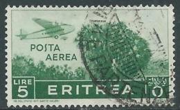 1936 ERITREA POSTA AEREA USATO SOGGETTI AFRICANI 5 LIRE - UR31-5 - Eritrea