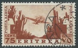 1936 ERITREA POSTA AEREA USATO SOGGETTI AFRICANI 75 CENT - UR31-2 - Eritrea