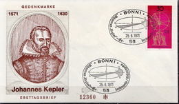 Germany Kepler Stamp On FDC From 1971 - Astronomy