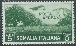 1936 SOMALIA POSTA AEREA SOGGETTI AFRICANI 5 LIRE MH * - UR35 - Somalia