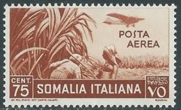 1936 SOMALIA POSTA AEREA SOGGETTI AFRICANI 75 CENT MNH ** - UR35 - Somalia
