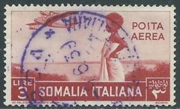 1936 SOMALIA POSTA AEREA USATO SOGGETTI AFRICANI 3 LIRE - UR31-5 - Somalia