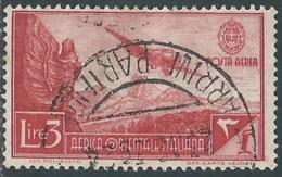 1938 AFRICA ORIENTALE ITALIANA POSTA AEREA USATO SOGGETTI VARI 3 LIRE - UR31-5 - Africa Orientale Italiana