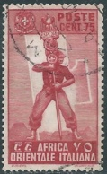 1938 AFRICA ORIENTALE ITALIANA USATO SOGGETTI VARI 75 CENT - UR31-5 - Africa Orientale Italiana