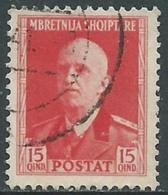 1939-40 ALBANIA USATO SERIE ORDINARIA 15 Q - UR29-2 - 9. Occupazione 2a Guerra (Italia)