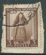 1939-40 ALBANIA USATO SERIE ORDINARIA 3 Q - UR29-3 - 9. Occupazione 2a Guerra (Italia)