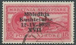 1939 ALBANIA POSTA AEREA USATO ASSEMBLEA COSTITUENTE 15 Q - UR31-6 - 9. Occupazione 2a Guerra (Italia)
