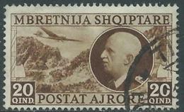 1939 ALBANIA POSTA AEREA USATO EFFIGIE 20 Q - UR31-6 - 9. Occupazione 2a Guerra (Italia)