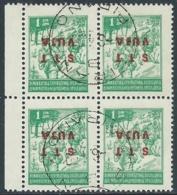 1949 TRIESTE B USATO VARIETà SOPRASTAMPA CAPOVOLTA 1 D QUARTINA - UR28-2 - 7. Trieste