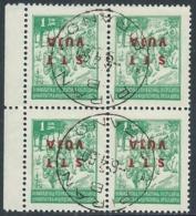1949 TRIESTE B USATO VARIETà SOPRASTAMPA CAPOVOLTA 1 D QUARTINA - UR28-3 - 7. Trieste