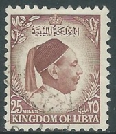 1952 LIBIA REGNO USATO EFFIGIE RE IDRISS 25 M - UR29-3 - Libia