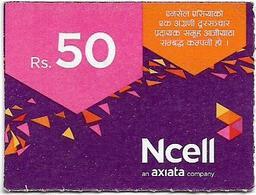 Nepal - Ncell - Purple Abstract, Mini Prepaid 50Rs, Exp. 03.08.2023, Used - Nepal