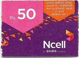 Nepal - Ncell - Purple Abstract, Mini Prepaid 50Rs, Exp. 22.07.2023, Used - Nepal