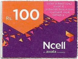 Nepal - Ncell - Purple Abstract, Mini Prepaid 100Rs, Exp. 03.08.2023, Used - Nepal