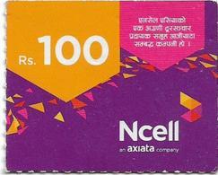Nepal - Ncell - Purple Abstract, Mini Prepaid 100Rs, Exp. 19.09.2022, Used - Nepal