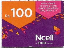 Nepal - Ncell - Purple Abstract, Mini Prepaid 100Rs, Exp. 20.08.2022, Used - Nepal