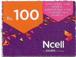 Nepal - Ncell - Purple Abstract, Mini Prepaid 100Rs, Exp. 22.07.2023, Used - Nepal