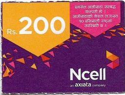 Nepal - Ncell - Purple Abstract, Mini Prepaid 200Rs, Exp. 20.08.2022, Used - Nepal