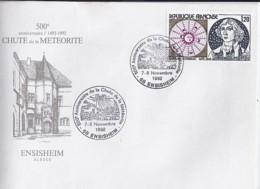 68 - HAUT RHIN - 68.ENSISHEIM / 500° ANN. DE LA METEORITE - 1992 - TàD DE TYPE ILL. - Postmark Collection (Covers)