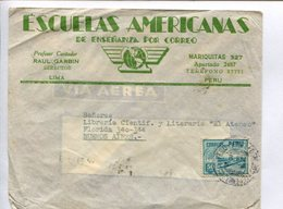 ENVELOPE COMMERCIAL CIRCULATED FROM LIMA, PERU TO BUENOS AIRES, ARGENTINA. 1943 AIR MAIL VIA AEREA. -LILHU - Perú