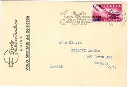 Volo Speciale 26-2-56 Con Bollo Sovrastampato Per Visita Del P.R. Negli USA ( 221 ) - 6. 1946-.. Repubblica