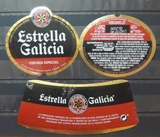 LOTE DE 3 ETIQUETAS CERVEZA ESTRELLA GALICIA. - Cerveza