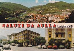 SALUTI DA AULLA - MASSA - LUNIGIANA - 2 VEDUTE - INSEGNA PUBBLICITARIA BIRRA WUHRER - AUTO - Massa
