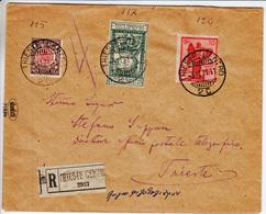 Regno, Sassone 115, 117 E 120 Su Raccomandata Per Città - 1900-44 Vittorio Emanuele III