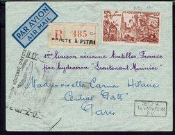 Guadeloupe - P.A Tchad Au Rhin 50 F Sur Env. Recommandée De Pointe A Pitre Pour Paris Par 1ère Liaison Par Hydravion - - Guadeloupe (1884-1947)