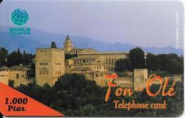 CARTE-PREPAYEE-1000 Ptas-ESPAGNE-WORLD TELECOM-GRENADE ALHAMBRA-Exp 31/12/1999-Plastic Epais-avec Sa Notice-GR ATTE- TBE - Espagne