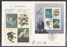 Beautiful Groß FDC 1995 Frankreich France : J. J. AUDUBON Vogelzeichnungen - FDC
