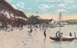 Honolulu Hawaii, Waikiki Beach Scene With Tourists Swimmers Boat, C1910s Vintage Postcard - Honolulu