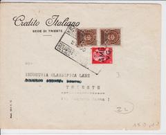 Trieste A, Lettera Affrancata Con Sassone 3 E Recapito Autorizzato Sassone RA 6 (05262) - 7. Trieste