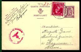 BELGIQUE - ENTIER POSTAL - GANZSACHE - POSTALE STATIONERY - ZENSUR - CENSURE - CENSOR SHIP - - Belgique
