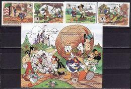 Caicos Islands 1985 Grimm Brothers Disney Cartoons 4 Stamps + S/s Blocks - Disney