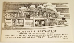 Ancienne Carte De Visite De HAUSSNER'S RESTAURANT - Baltimore - Tarjetas De Visita