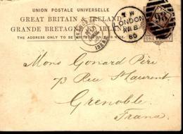 ENTIER POSTAL DE LONDRE POUR GRENOBLE - 1880 - POSTAL STATIONERY - GANZ SACHE - - 1840-1901 (Victoria)