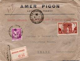 LSC 1934 - Recommandé Et Cachet LEVALLOIS PERRET Sur Enveloppe AMER PICON  / YT 258 & 281 / Cachets De Cire P&C - Marcophilie (Lettres)