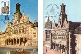 """Lot """" HOTEL DE VILLE DE ST-QUENTIN """" Sur 2 Cartes Maximum De 1967. Diverses éditions. N° YT 1499. TB état CM - Cartas Máxima"""