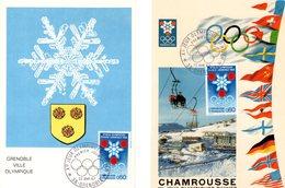 "Lot "" J.O. DE GRENOBLE DE 1968 "" Sur 2 Cartes Maximum De 1967. Diverses éditions. N° YT 1520. TB état CM - Winter 1968: Grenoble"