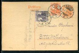 """Deutsches Reich / 1920 / Postkarte """"Germania"""" Mit Zusatzfrank. Steg-Stempel Treuen (23633) - Deutschland"""