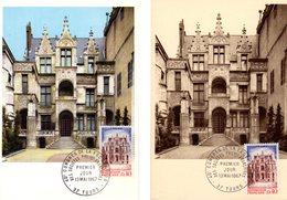 """Lot """" HOTEL GOUIN A TOURS """" Sur 2 Cartes Maximum De 1967. Diverses éditions. N° YT 1525. TB état CM - Cartas Máxima"""