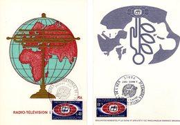 """Lot """" UNION EUROPEENNE DE RADIODIFFUSION """" Sur 2 Cartes Maximum De 1967. Diverses éditions. N° YT 1515. TB état CM - Cartas Máxima"""