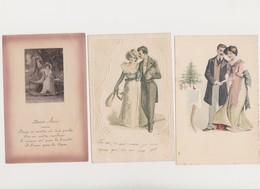 Lot De 10 Cartes Fantaisie Dessinées ( Dont Gaufrées)  / Couples - Paare