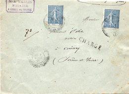 LSC 1905 - Chargé Et Cachet  - CHAGNY GARE Et CUISERY (Saone Et Loire) / YT 132 (x2) / Cachets De Cire Au Dos - Postmark Collection (Covers)