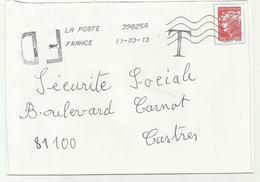 Lettre Fausse Direction Et TAXE  2013 - Marcophilie (Lettres)