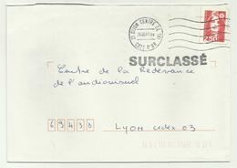 Lettre Centre De Tri Dijon SURCLASSE 1993 - Marcophilie (Lettres)